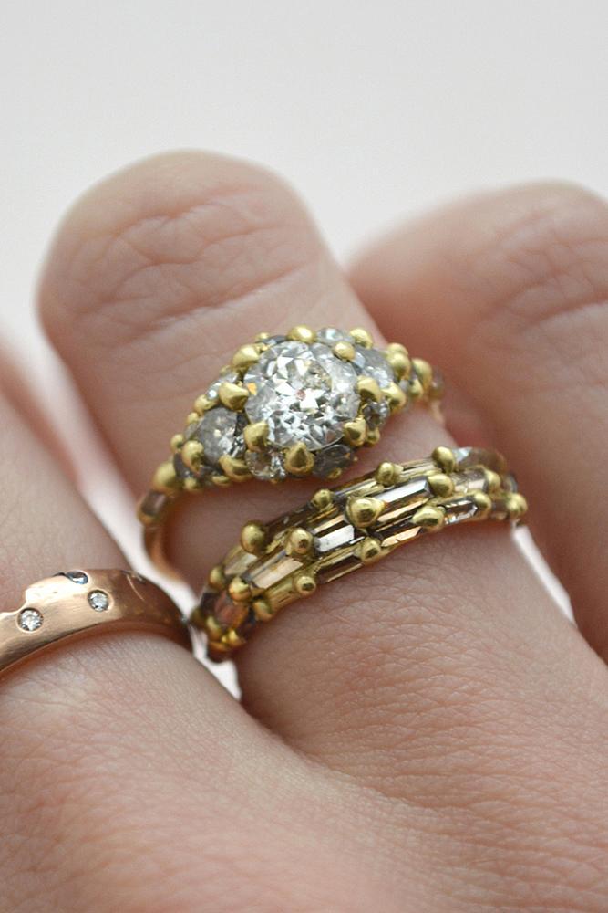 wedding ring sets yellow gold round cut diamond chain