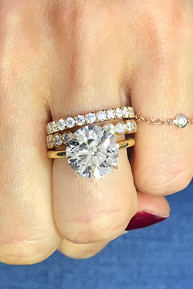 wedding ring sets yellow gold solitaire round cut diamond