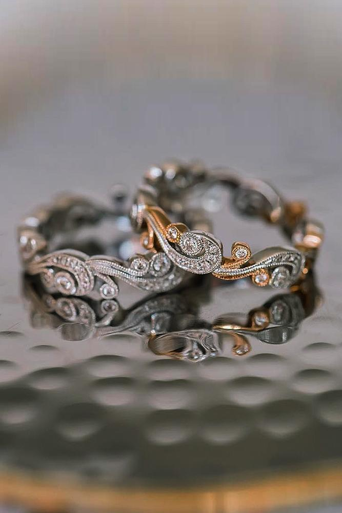 wedding rings set diamonds mixed metals gold vintage