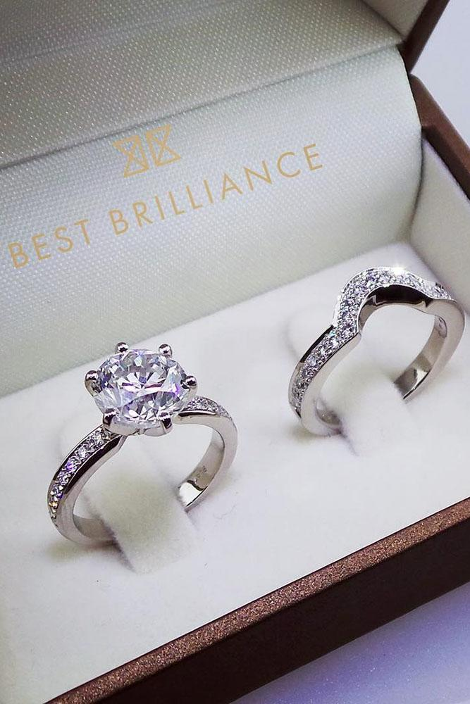 wedding rings set pave band white gold round cut solitaire diamond