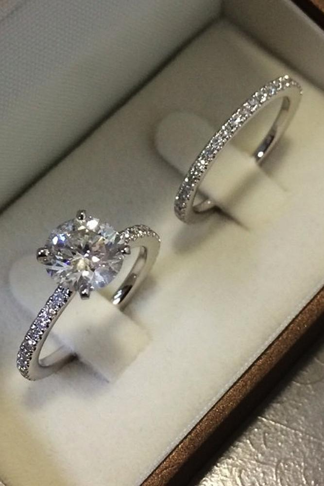 wedding rings set pave band white gold solitaire diamond