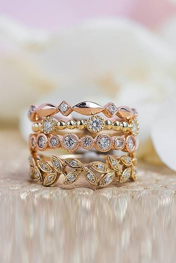 wedding rings set rose gold diamond twisted