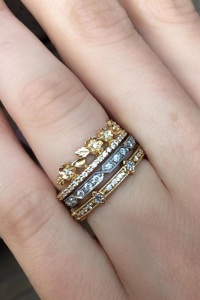 wedding rings set stackable yellow white gold