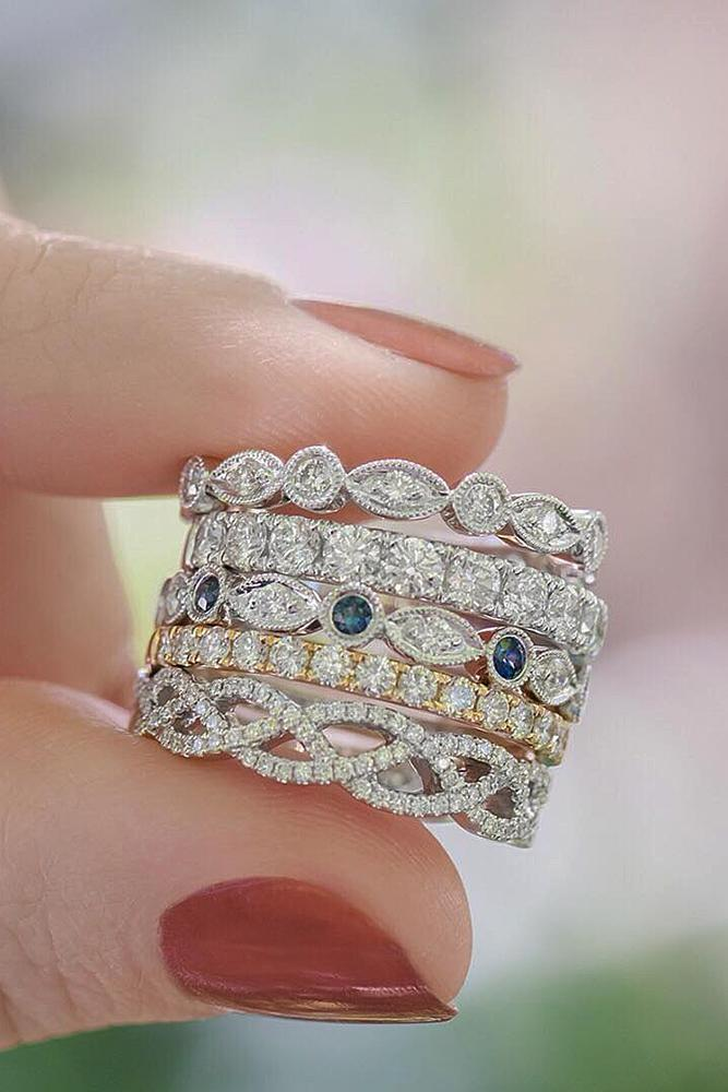 wedding rings set white gold sapphires diamonds twist