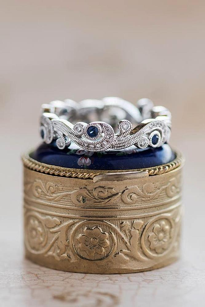 wedding rings set white gold vintage sapphires