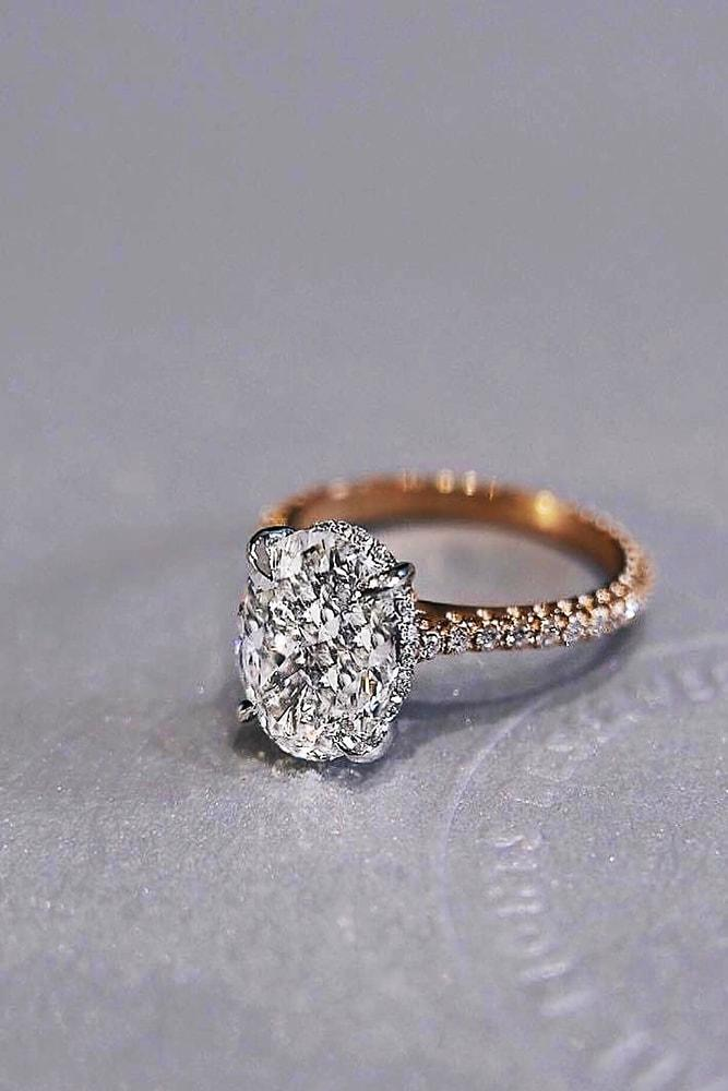 best engagement rings rose gold oval cut diamond solitaire pave band brilliant