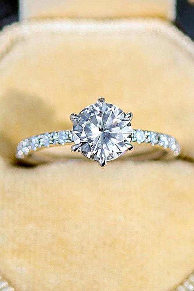 simple engagement rings pave band white gold solitaire bridal ring
