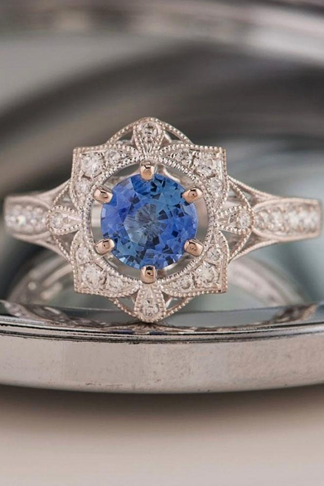colored engagement rings floral vintage sapphire white gold