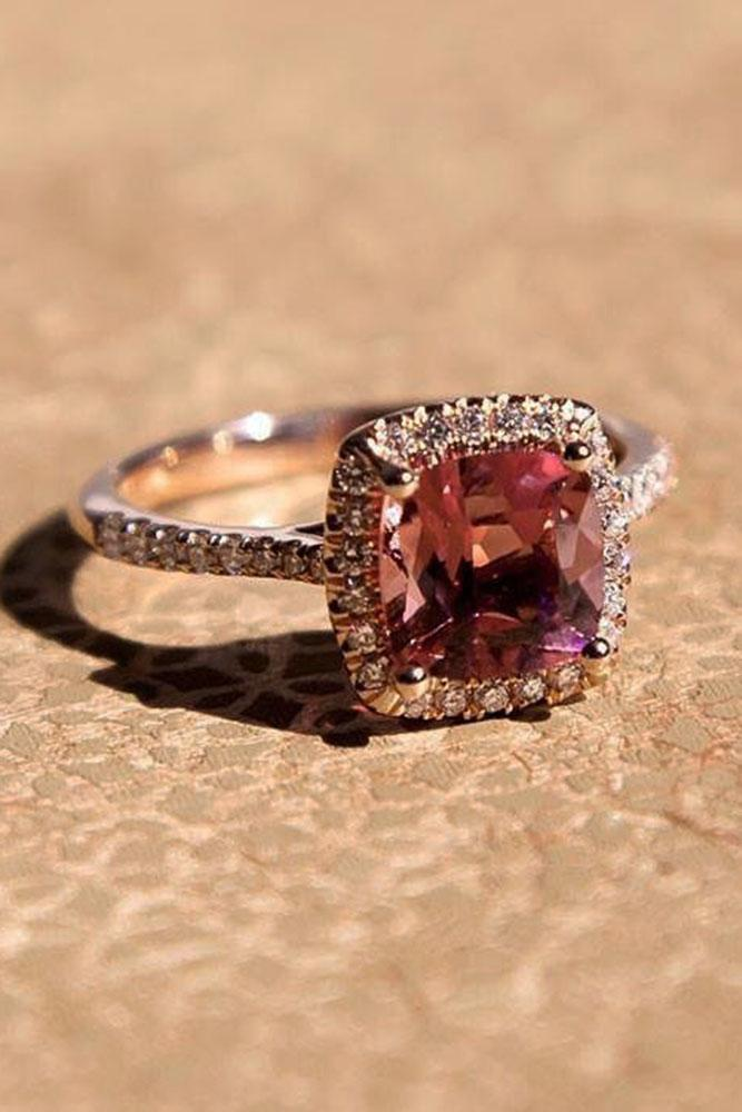 colored engagement rings halo pave band pink tourmaline