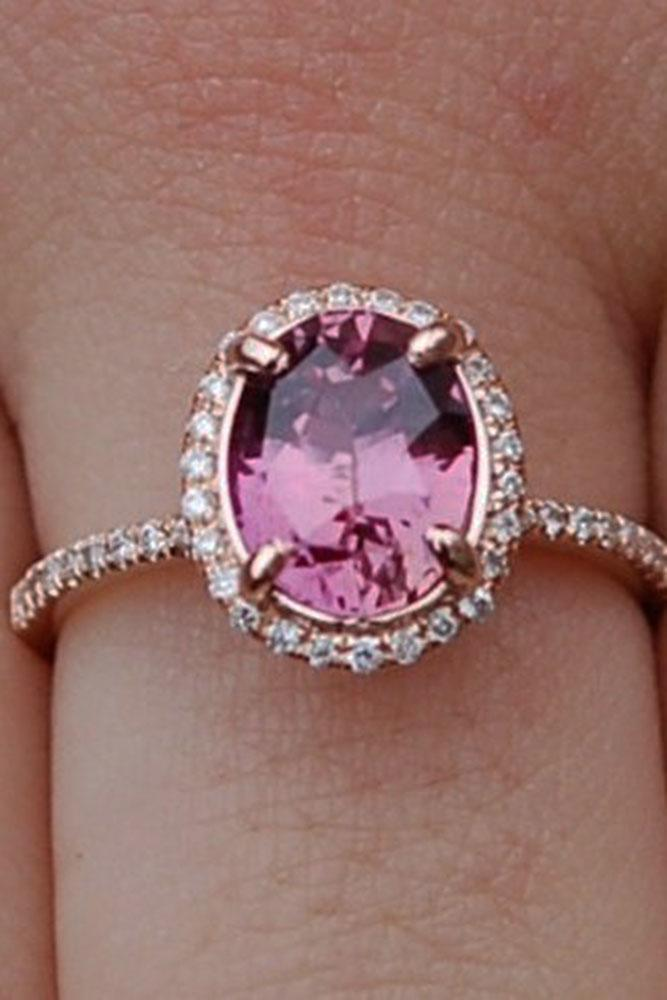 colored engagement rings oval halo pink sapphire pave band diamonds