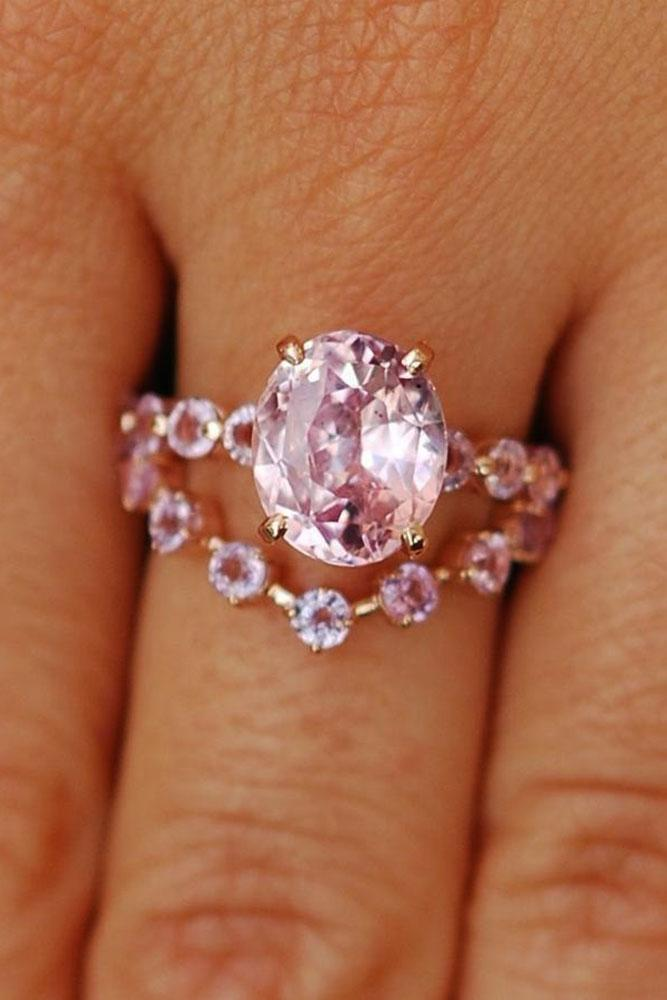 colored engagement rings oval halo pink sapphire unique band diamonds