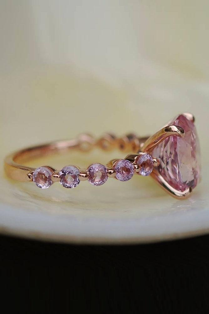 colored engagement rings pink sapphires unique ring