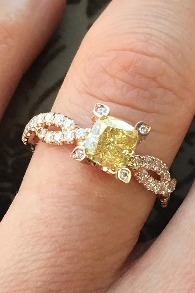 colored engagement rings princess cut yellow twins