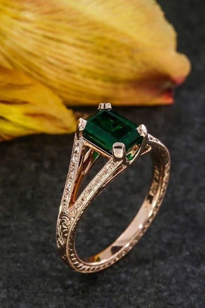 colored engagement rings rose gold center emerald shank band