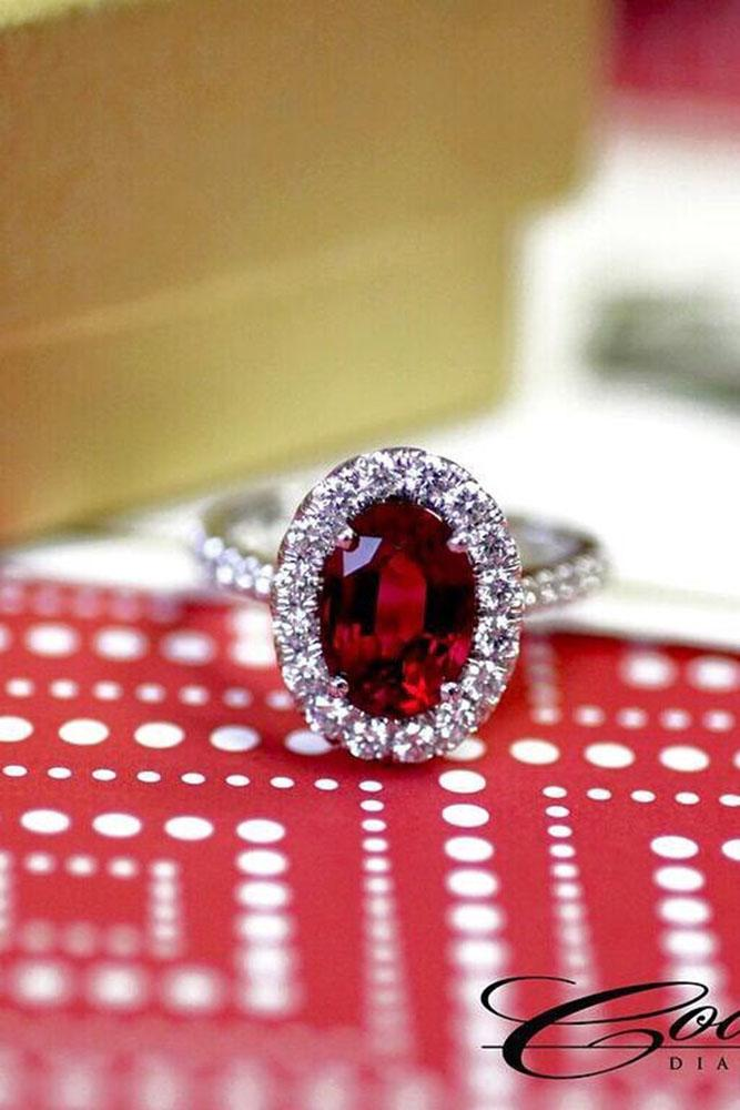 colored engagement rings ruby diamond halo pave band