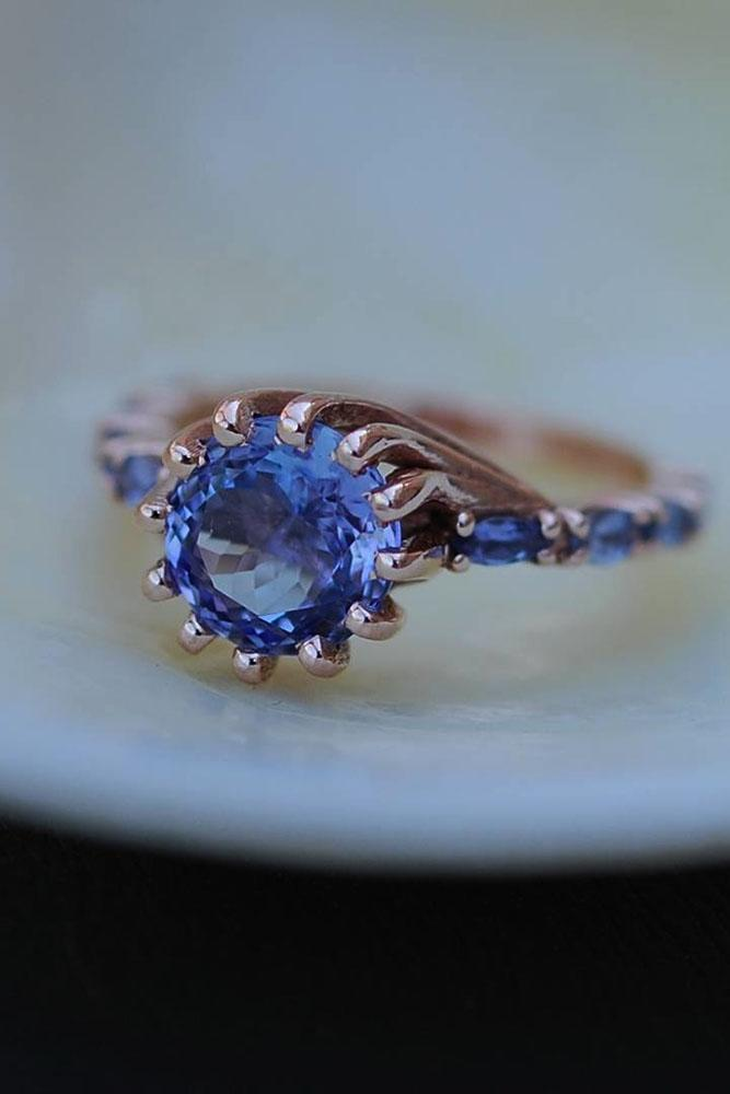 colored engagement rings sapphires rose gold