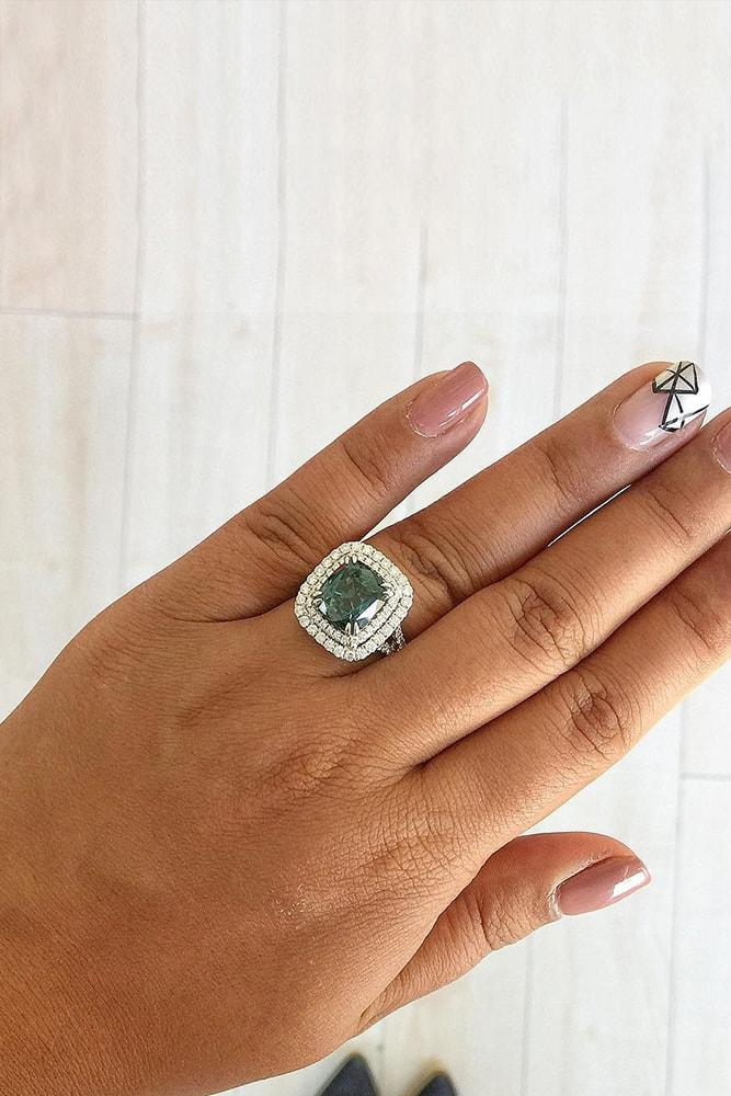 colored engagement rings white gold cushion cut green sapphire double diamond halo pave band
