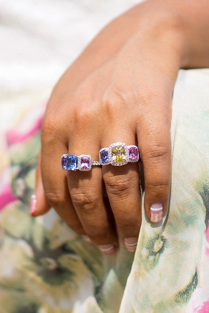 colored engagement rings white gold emerald cut yellow blue pink sapphires halo three stones
