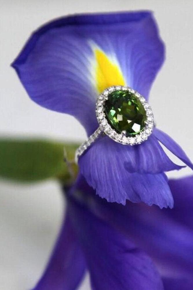 colored engagement rings white gold green center gemstone halo