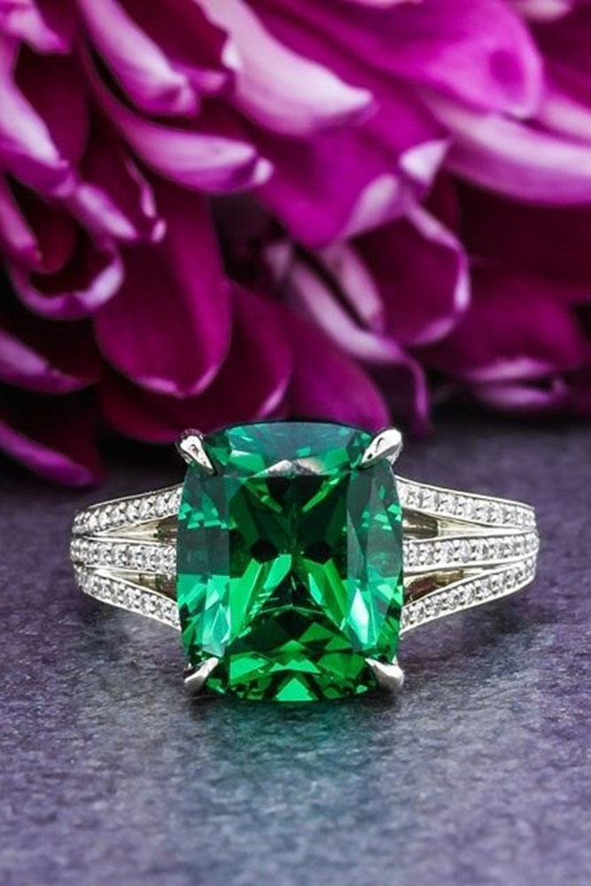 colored engagement rings white gold shank pave band center emerald