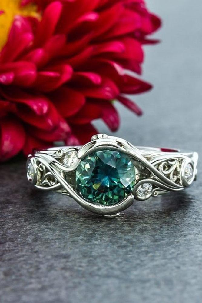 colored engagement rings white gold vintage ring with gemstone