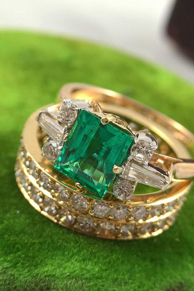 colored engagement rings yellow gold wedding set princess cut emerald diamond
