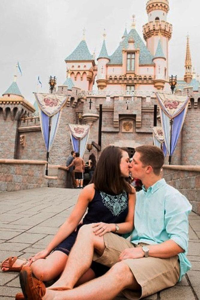 Disney proposals castle background and proposal kiss