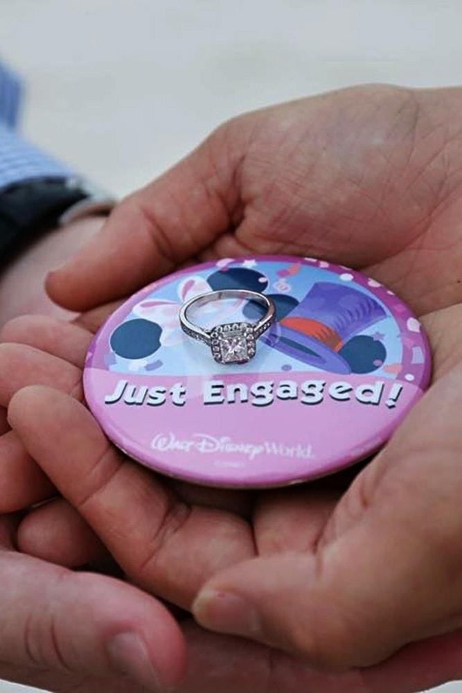 disney proposals ideas for inspiration engagement ring and badge in disneyland style