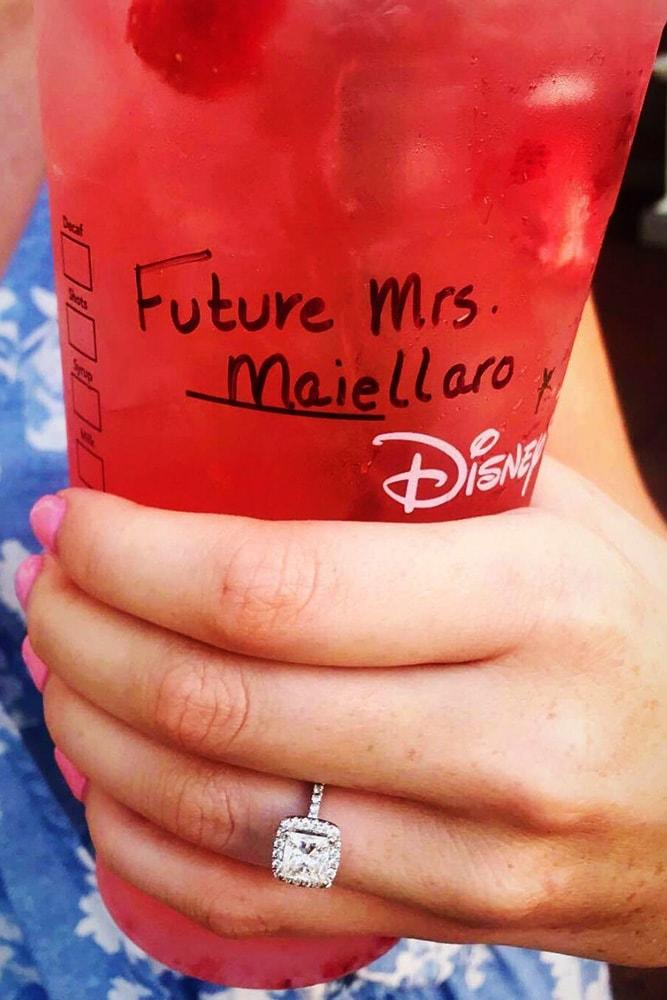 disney proposals ideas for inspiration engagement ring paper cup in the hand