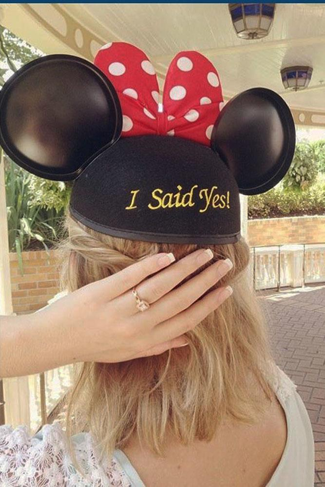 Disney proposals mini mouse i said yes and engagement rings