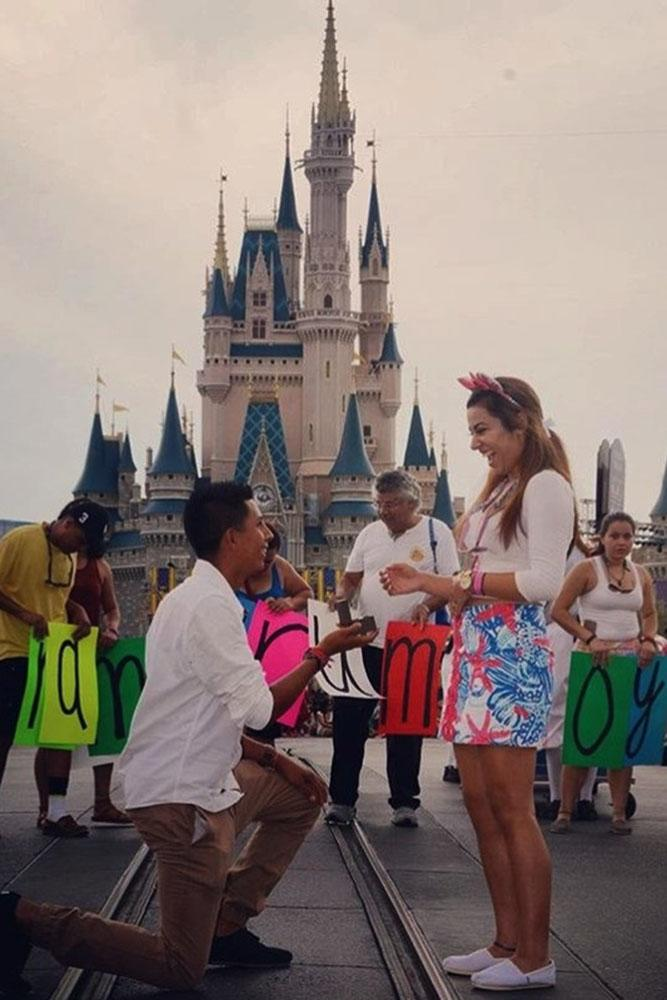 Disney proposals on one knee