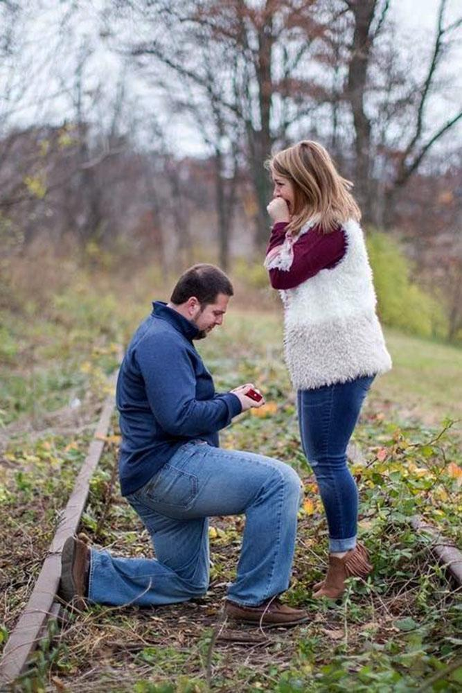 fall proposal ideas in a forest on the railway