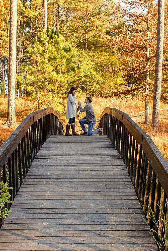 fall proposal ideas nature bridge man propose a woman