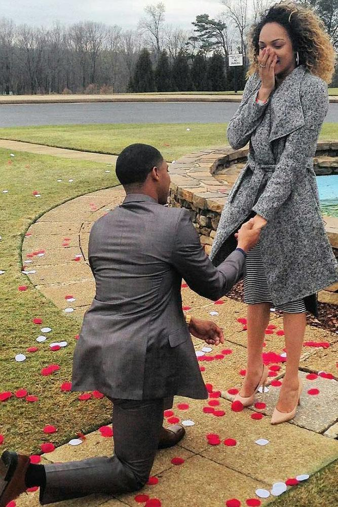 fall proposal ideas with petals