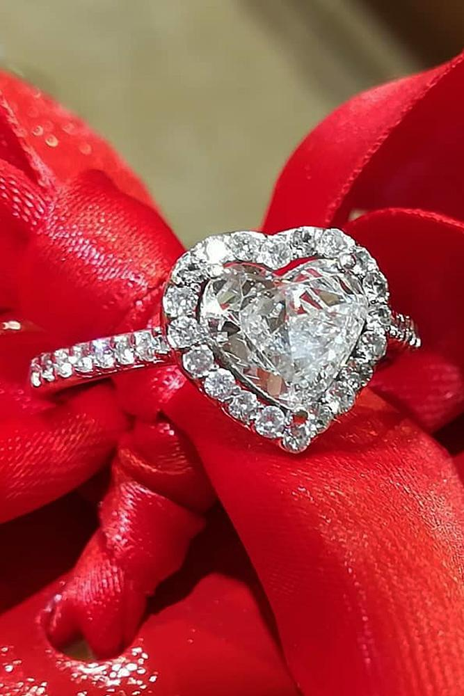heart engagement rings diamond halo pave band white gold