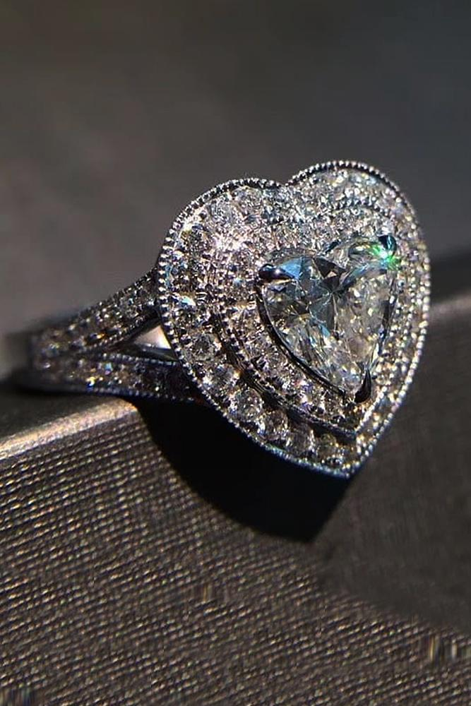 heart engagement rings double halo split pave band