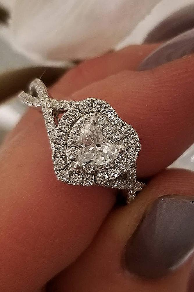 heart engagement rings double halo twist pave band