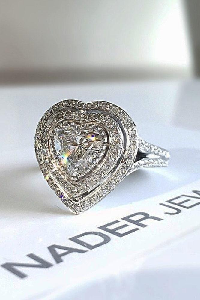 heart engagement rings double halo white gold diamonds