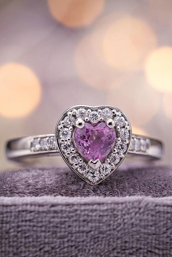 heart engagement rings gemstone white gold pave band