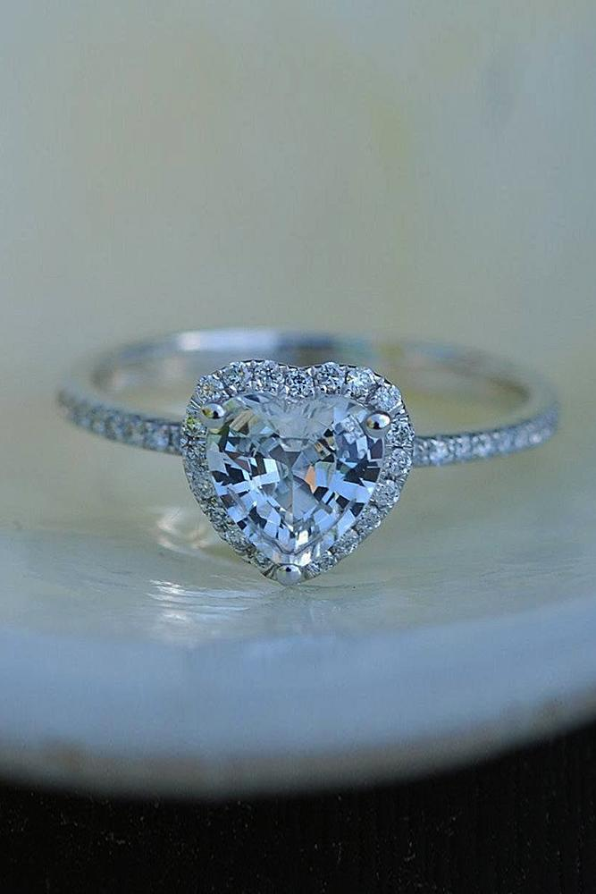 heart engagement rings halo pave band white gold
