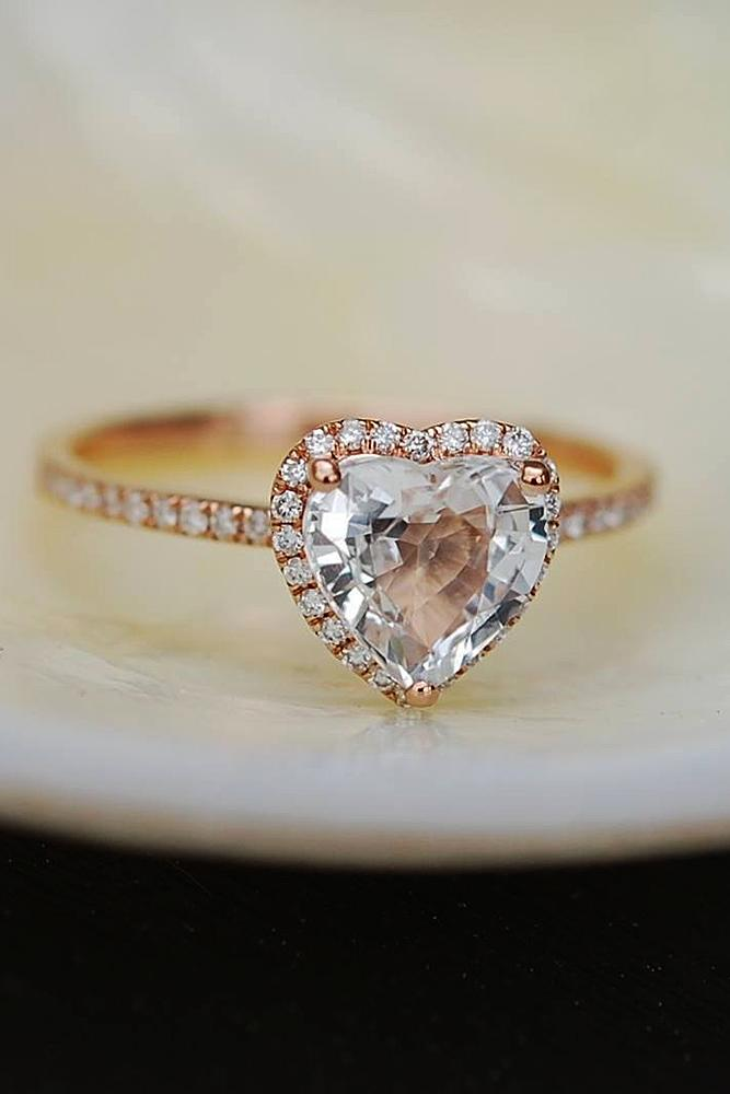 heart engagement rings halo sapphire pave band