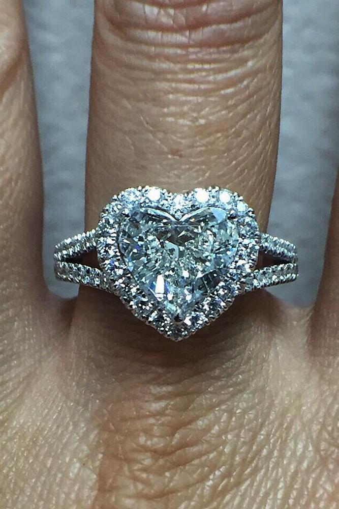 heart engagement rings halo split pave band diamond modern