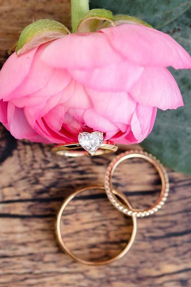 heart engagement rings heart cut diamond solitaire rings in sets rose gold pave band simple