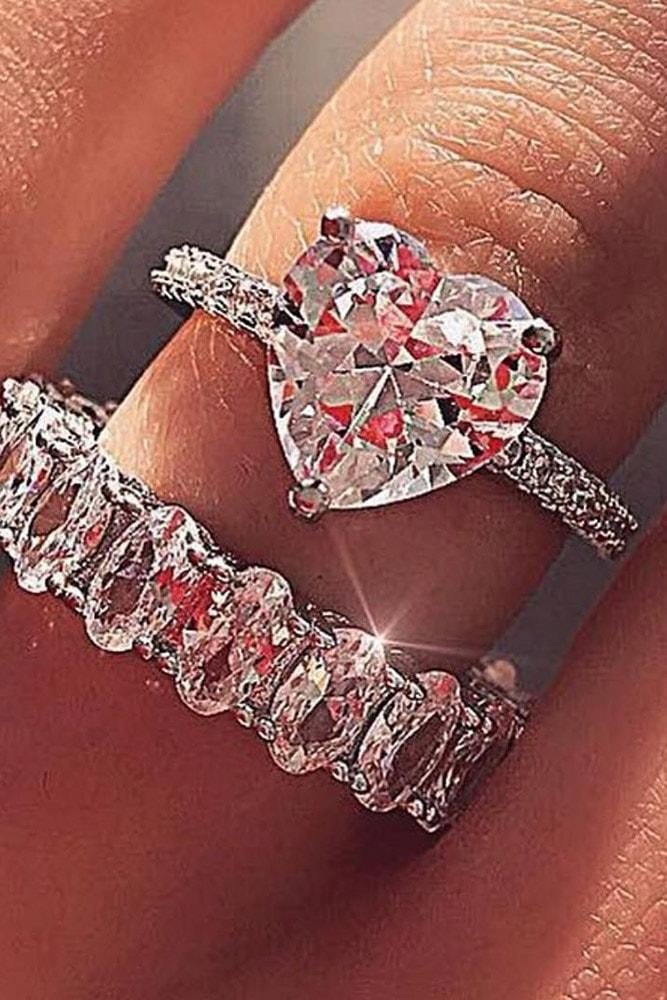 heart engagement rings heart cut morganite solitaire rings in sets white gold pave band