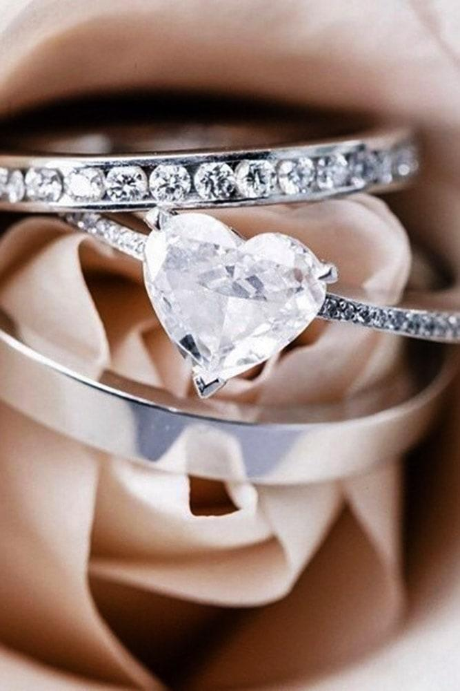 heart engagement rings heart cut rings in sets white gold pave band amazing