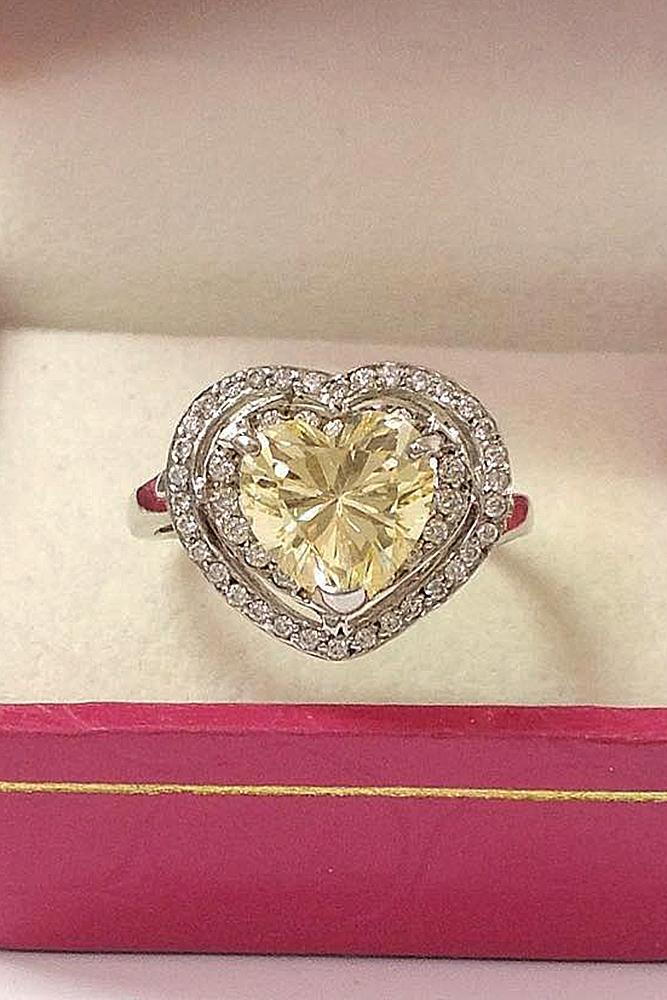 heart engagement rings modern double halo yellow diamond