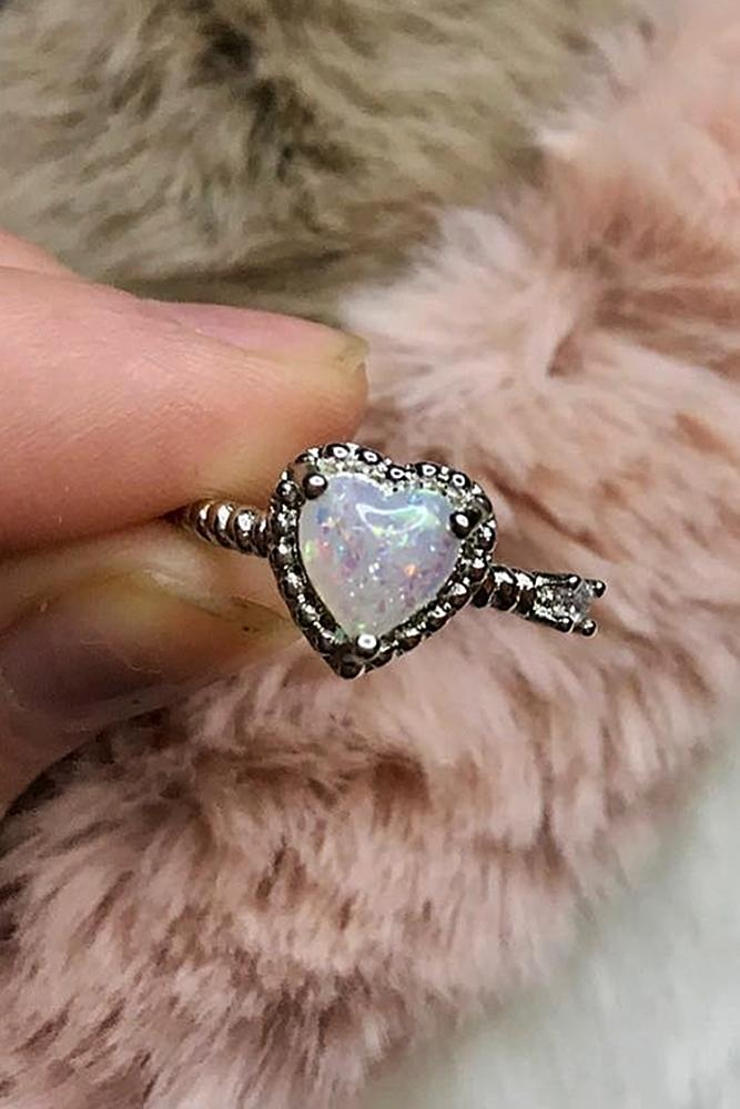 heart engagement rings opal halo white gold