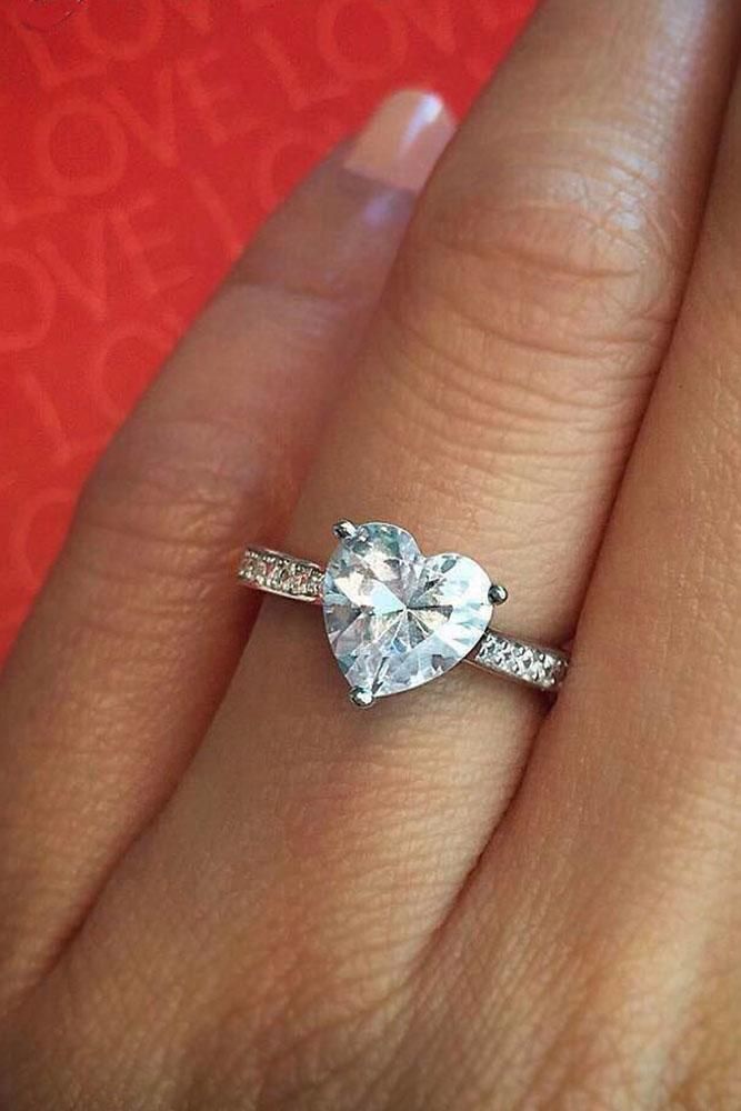 heart engagement rings pave band white gold center heart cut diamond