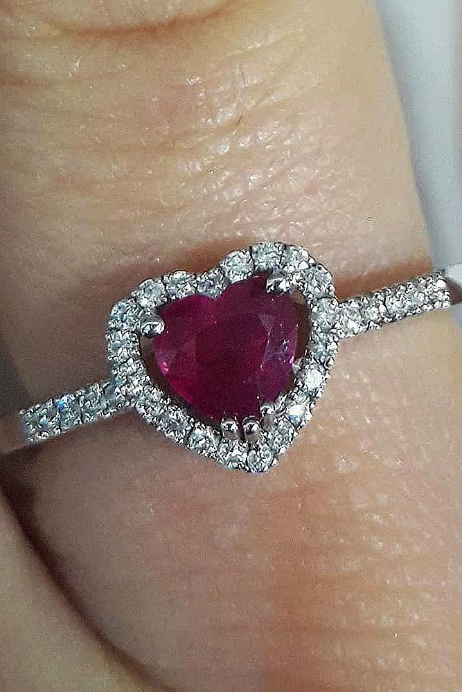 heart engagement rings ruby halo pave band diamond