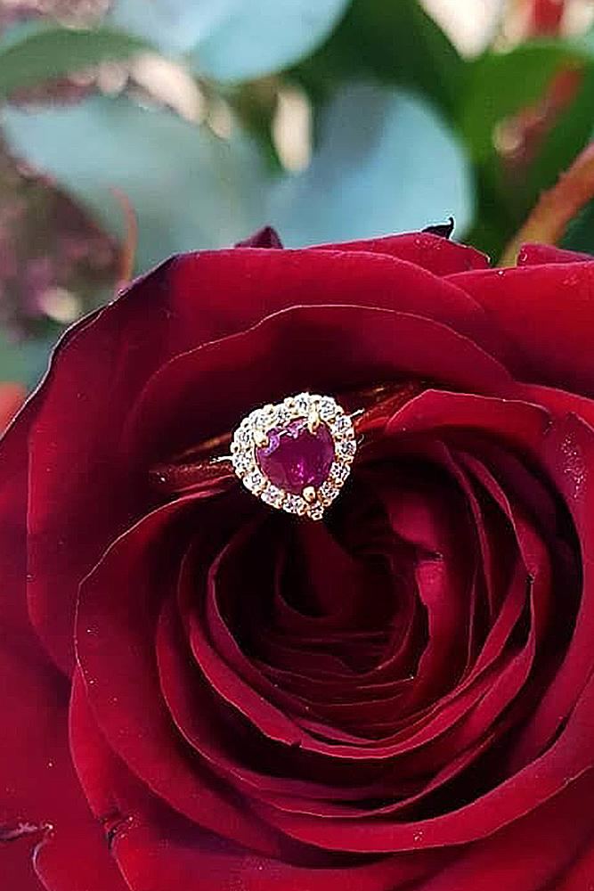 heart engagement rings ruby halo rose gold